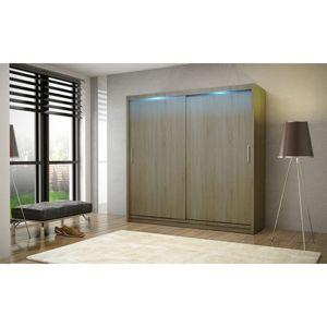 Kvalitní šatní skříň KOLA 2 dub trufla šířka 180 cm Bez LED osvětlení