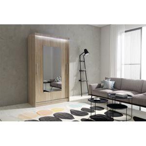 Kvalitní šatní skříň KOLA 6 dub sonoma šířka 120 cm Bez LED osvětlení