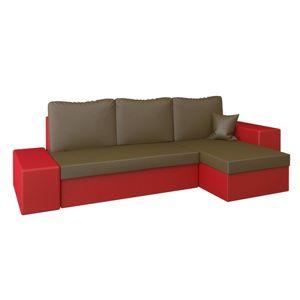 Rohová rozkladacia sedacia súprava z eko-kože LINEA